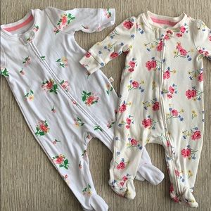 Baby Gap Floral Footie Bundle